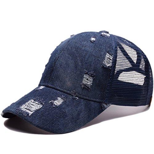 Kokkn Ponytail Baseball Cap Hat Ponycaps Messy Ponytail Adjustable Outdoor Mesh Cap Trucker Dad Hat for Women Men (Damaged Denim Blue) (Baseball Slides)