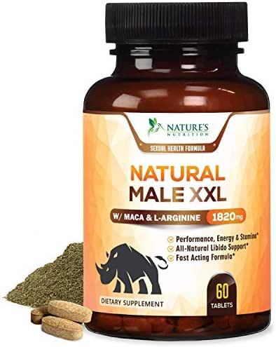 Natural Male XXL Pills Extra Strength Enlargement Booster Increases Energy, Mood & Endurance - Natural Size, Stamina & Strength Booster - Best Performance Supplement for Men - 60 Capsules