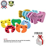 10 Pcs Baby Kids Safety Door Stopper Cute Finger Pinch Guard Protector Cartoon with 4 pcs Table Desk Corner Edge Guard Cushion Free Gift