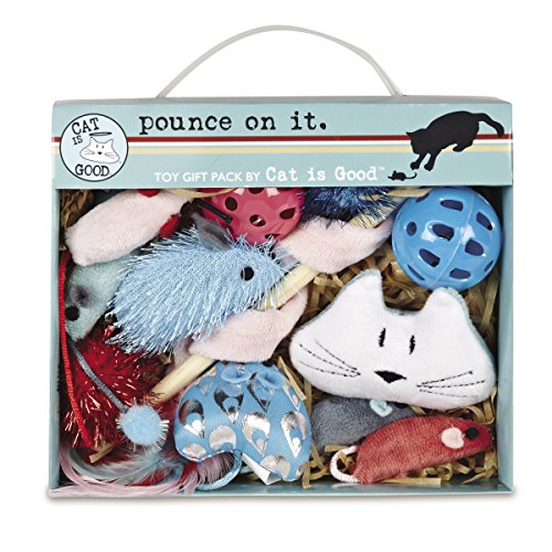 Cat Is Good 12-Piece Pounce Toy Gift Box - Pounce on It Assorted Toys Keep Cats and Kittens Entertained Safely ()