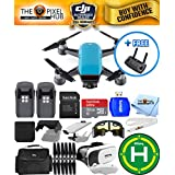DJI Spark Quadcopter With FREE Remote EXTREME ALL YOU NEED PROFESSIONAL BUNDLE With 2 Batteries (Total) Landing Pad, Extra Props, 32GB Micro SD Card Plus Much More (Sky Blue)