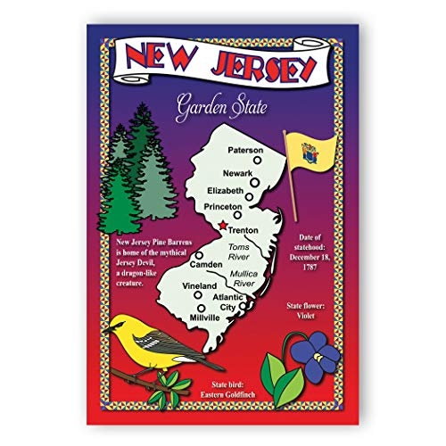 - NEW JERSEY STATE MAP postcard set of 20 identical postcards. Post cards with NJ map and state symbols. Made in USA.