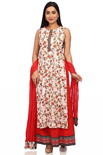 BIBA Women's Off White Cotton Salwar Kameez Dupatta Size - Off White Kameez Cotton Salwar