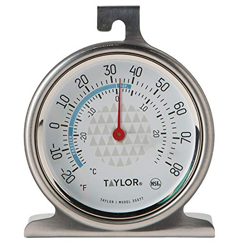 Cole Thermometer - Taylor 3507 TruTemp Refrigerator/Freezer Analog Dial Thermometer with Safety Zones