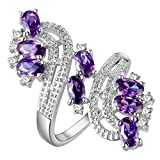 HMILYDYK Women Jewelry Shiny Cubic Zirconia Purple Crystal Ring 925 Sterling Silver Plated Eternity Ring