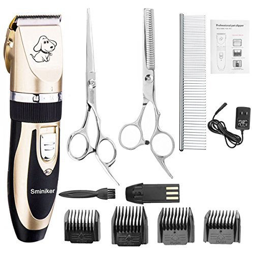 Sminiker Professional Rechargeable Cordless Dogs and Cats Grooming Clippers - Professional Pet Hair Clippers with Comb Guides for Dogs Cats and Other House Animals,Pet Grooming Kit from Sminiker Professional