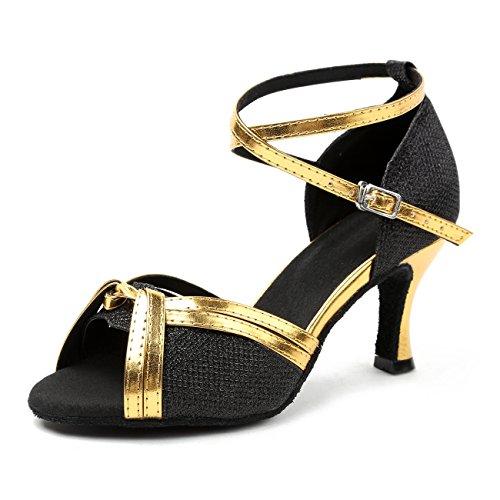 Minishion Flickor Kvinna Fashoin Glitter Latin Balsal Social Dansskorna Kväll Bröllop Sandaler Black-7.5cm Klack
