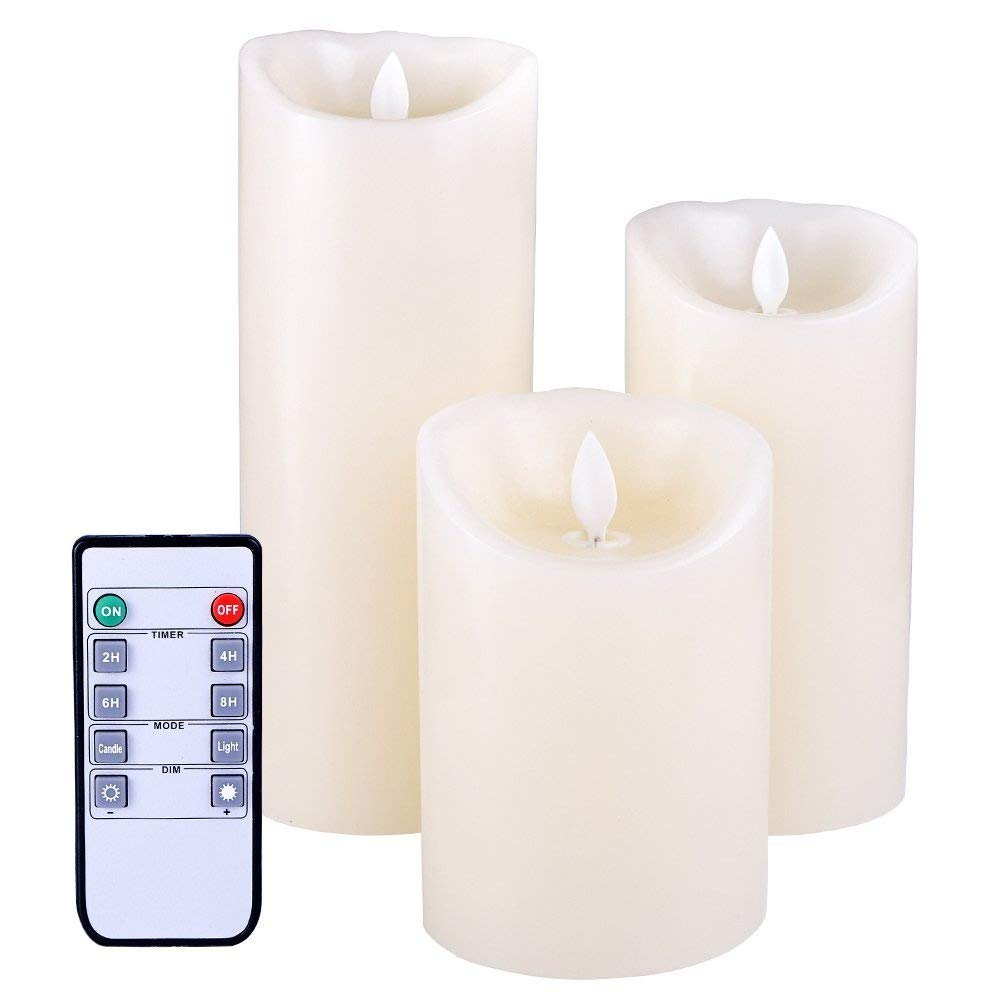 Flameless Candles Flickering Light High Pillar Real Smooth Wax for Gifts and Decoration (Set of 3)