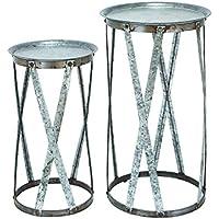 Benzara Conventional Decor Metal Pedestal, Set of 2
