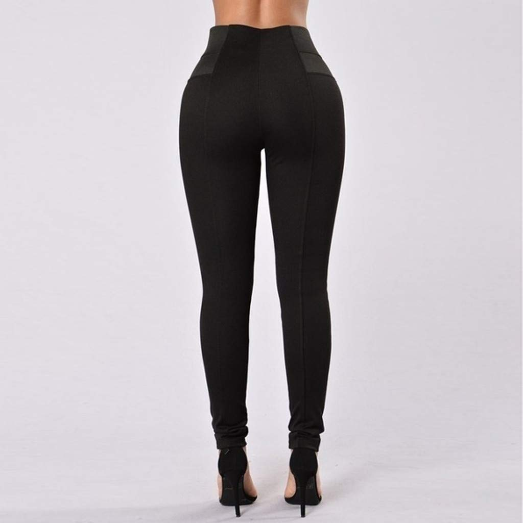 Workout Shorts for Women Plus Size Cotton, Yoga Pants for Women Large,Womens Leggings Elastic Trousers Thin Zipper Solid Mid-Calf Plus Size Pants by Makeupstory (Image #5)