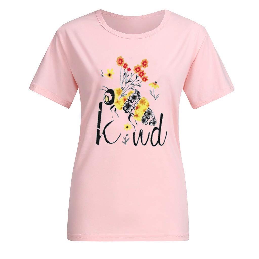 Witspace Womens Short Sleeve Casual Comfort Letter Print Tops T-Shirt Loose Blouse
