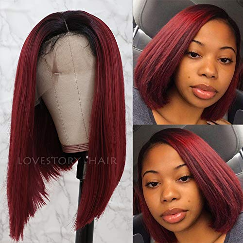 Lovestory Heat Resistant Bob Synthetic Lace Front Wig Ombre Red Wigs For Women Natural Hair Wigs 180 Density]()