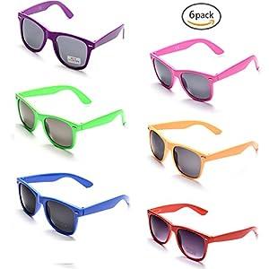 Onnea 100% UV Protection Wholesale Multi Pack Unisex 80'S Retro Style Promotional Sunglasses, Purple (Mix 6-Pack)