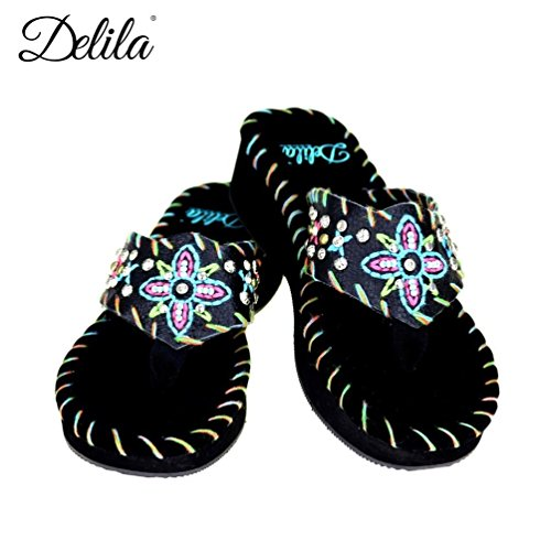 Montana West Delila- Leather Uppers, Embroidered Flip Flops- Black6-11(8)
