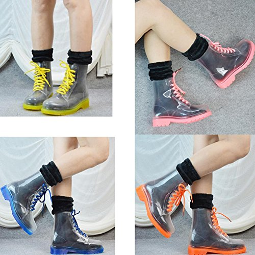 Water Martin Shoes Fashion HUAN 39 F Academy Rain Summer Ladies Color Boots Rain Transparent Shoes Girls PVC Size Spring 01P1E