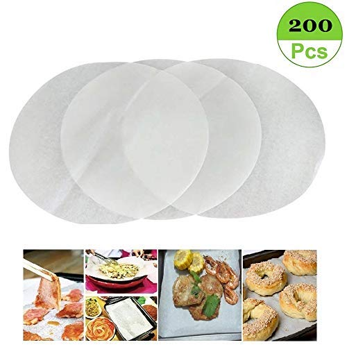KooK Round Parchment Paper in Resealable Packaging 200, 9 inch White