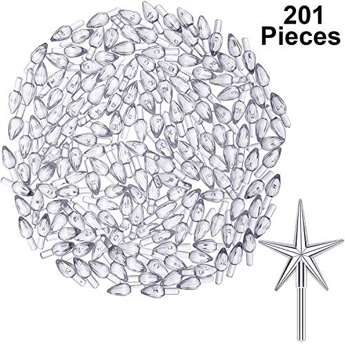 201 Pieces Plastic Ceramic Christmas Tree Lights Replacement Tree Bulbs for Christmas Tree Ornaments, Light and Star Shape