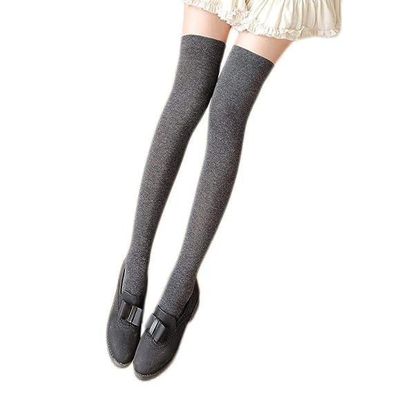 Uojack Mujeres Algodón Elástico Sólido Sobre la rodilla Muslo Calcetines largos de media alta Calcetines: Amazon.es: Ropa y accesorios