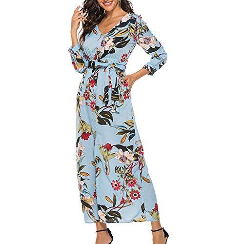 08 Wall Mount - Aniywn Women's Long Boho Dress Floral Print Long Sleeve V-Neck Hem Split Ladies Maxi Dress with Belt(Sky Blue,XL)