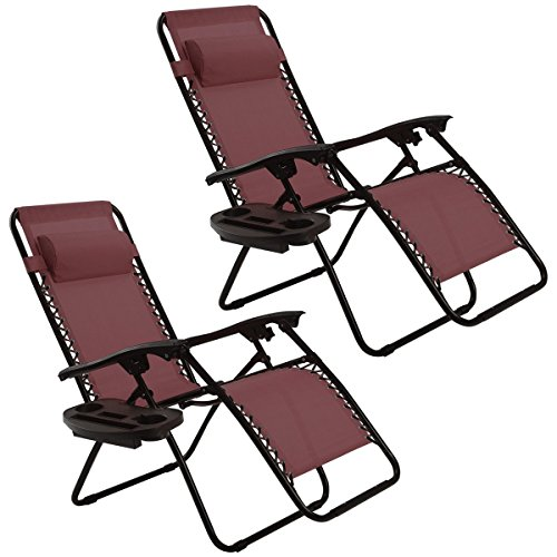 Goplus Zero Gravity Chairs, Lounge Patio, Folding Recliner, Outdoor Yard Beach with Cup Holder, Wine, 2 Piece