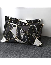 Wellboo Black and White Pillowcases Marble Black White Geometric Triangle Pillow Shams Queen Standard Size Pillow Protectors Cotton Women Men Teens Abstract Texture Pillowcase No Insert