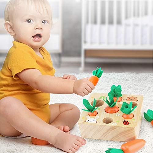 Wooden Toy for Toddlers 1 2 3 Years Old Developmental Montessori Toys for Boys Girls,Carrots Harvest Educational Toys Shape Size Sorting Grasp Sensory Learning Gifts