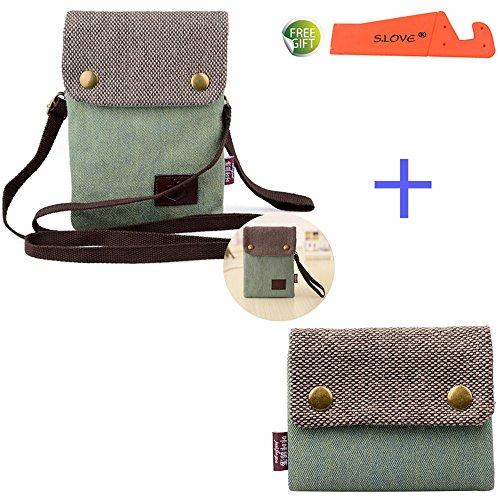 S.LOVE Heavy-Duty Canvas Change Purse Short Women Wallet with Key Ring + Mini Cute Crossbody Bag (Green-Green) (G-flex Canvas)