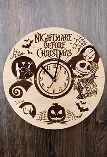 Jack Skellington Sally Nightmare before Christmas Design Real Wood Wall Clock - Eco Friendly Natural Nursery Wall Decor - Creative Gift Idea for Teens and Youth by Wood Crafty Shop (Image #4)
