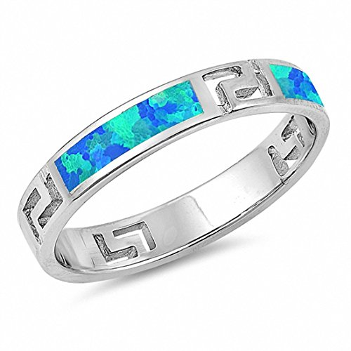 4mm Greek Key Band Ring Created Blue Opal 925 Sterling Silver,Size-8