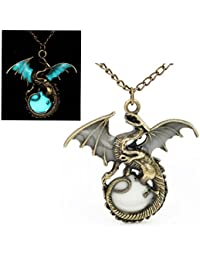 "Best Wing Jewelry Glow In The Dark ""Dragon / Pterosaur"" Bronze-Tone Pendant Chain Necklace (28.7cm)"