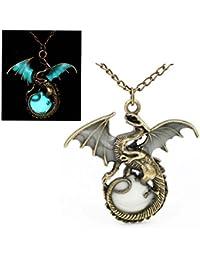 "Best Wing Jewelry Glow In The Dark ""Dragon"" Bronze Pendant Chain Necklace (28.7cm)"