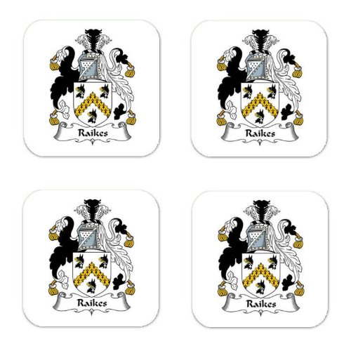 Raikes Family Crest Square Coasters Coat of Arms Coasters - Set of 4