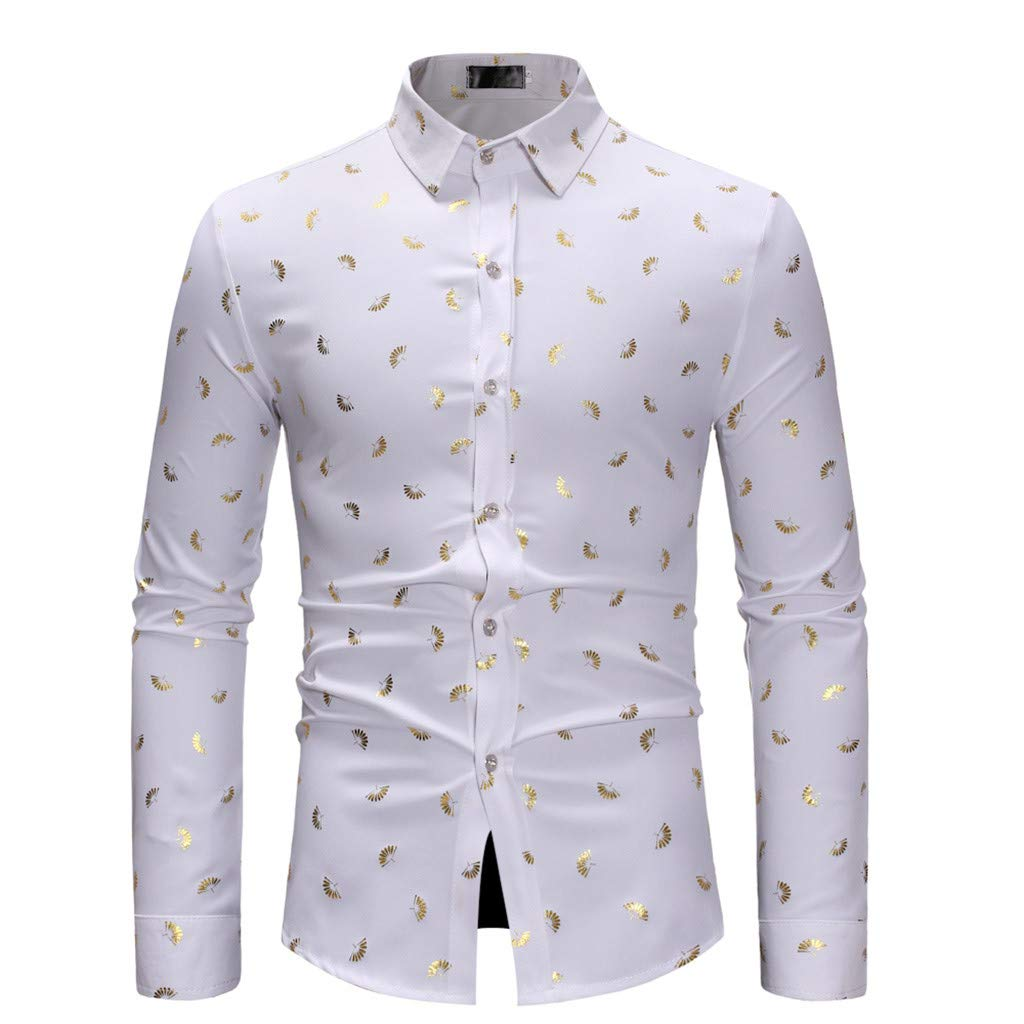 POHOK Men Printed Long Sleeve Shirt Mens Long Sleeve Autumn Winter Plus Size Casual Top Blouse Shirts