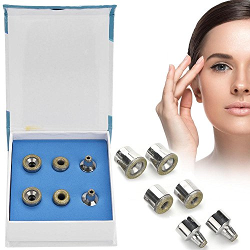 Dermabrasion Diamond Tips, 6Pcs Replacement Diamond Microdermabrasion Dermabrasion Tips Stainless Steel Filter Set Beauty Machine Accessory Tool by ZJchao