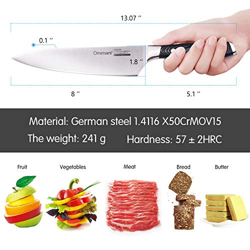 8'' Kitchen Chef Stainless Steel Knife by Ommani (Image #3)