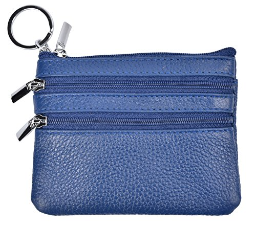 Coin Zip Leather Purse - Yeeasy Womens Mini Coin Purse Wallet Genuine Leather Zipper Pouch with Key Ring (Blue)