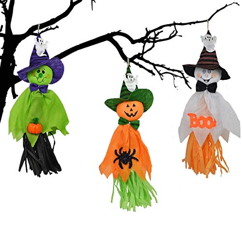 Halloween Hanging Ghost Decorations, 3 Pcs Ghost Pendant Fabric Door Wall Decor Props Ornaments for Halloween Party Home Yard Decoration Playground ()