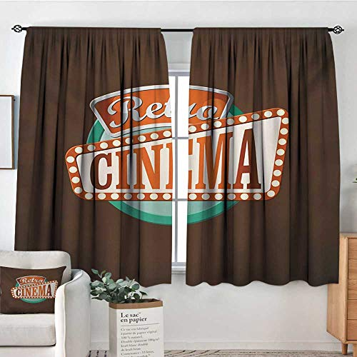 Movie Theater Patterned Drape for Glass Door Retro Style Cinema Sign Design Film Festival Hollywood Theme Bedroom Blackout Curtains 63