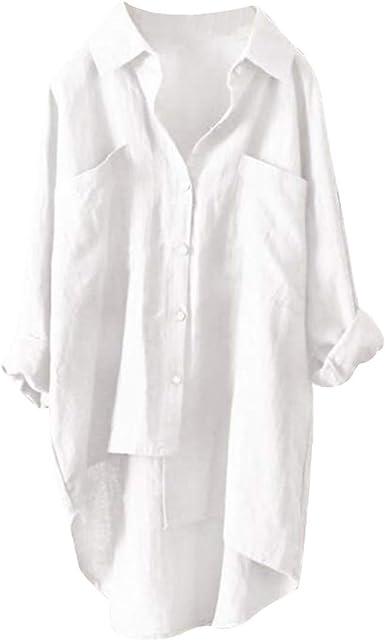 TOP-MAX Camisas de Botones para Mujer, Blusa Casual de algodón y Lino, Camisa Alta y Baja, Manga Larga con Bolsillos - Blanco - 2X-Large: Amazon.es: Ropa y accesorios