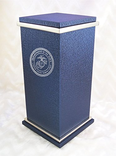 PERSONALIZED Custom Engraved United States Marine Corps Cremation Urn Vault by Amaranthine Urns, made in the USA, Peyton RG Painted Silver (up to 250 lbs living weight) (Cast Bronze)
