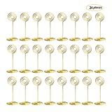 24 Pcs Circle Shape 85mm Tall Metal Table Number Holder Stands for Weddings Party Gatherings, Place Card Holder,Photo/Picture Holder,Golden
