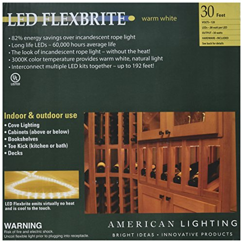 - American Lighting Flexbrite LED Rope Lighting Kit with Mounting Clips, 3000K Warm White, 30-Foot
