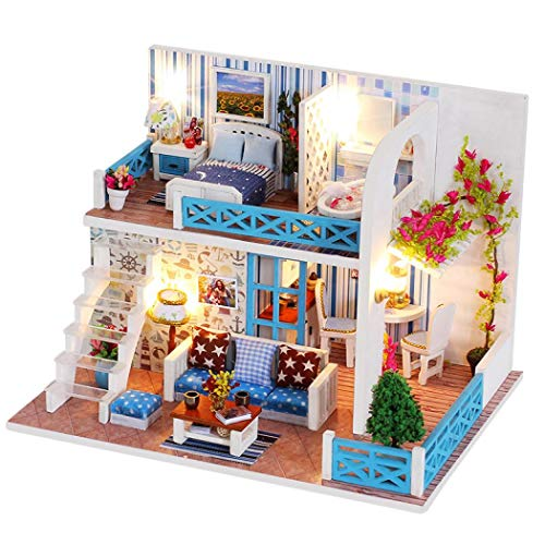 KUGIN Creative Mini Medium Toy Greenhouse Craft Kit Combination Assembly DIY Toy House with Furniture and Accessories ()