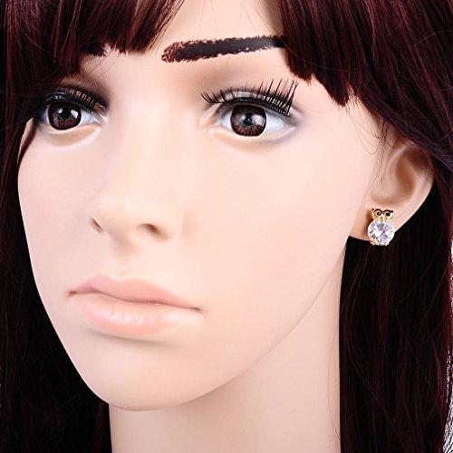 YAZILIND 18K Or Elégant Plaqué zircon Boucles d'oreilles Belle Owl pour les femmes