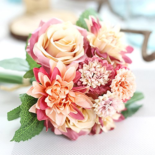 Yzakka Artificial Dahlias Wedding Bridal Bouquet 10 Heads Arrangement Floral Centerpieces Home Garden Office Decoration Sunset