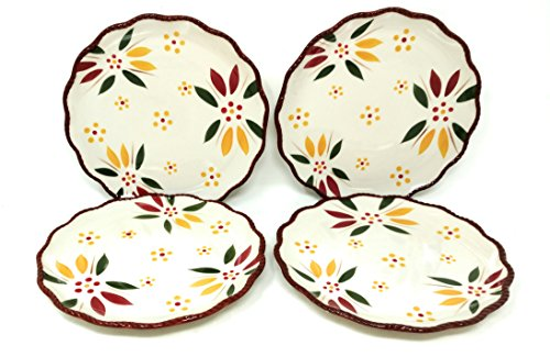 Temp-tations Set of 4 Hand Painted Stoneware Salad/Dessert Plate Choose Your Shape (Rope Edge Old World Fallfetti)