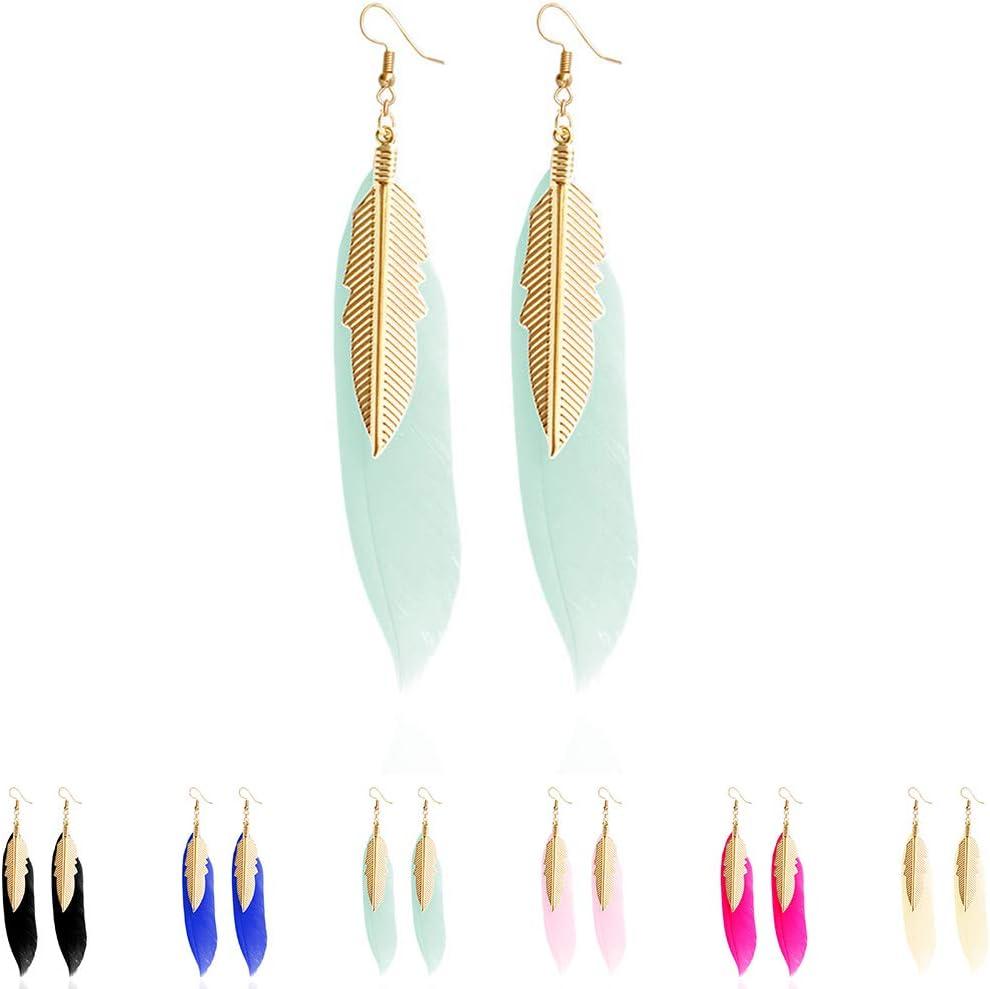Pendientes Colgantes de Plumas con peque/ños Pendientes de Plumas de Color Dorado para Mujeres 9 1.5 cm