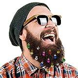 16pc Beard Ornaments Christmas Beard Bells Santa Claus Beard Clip, 12 Colors of Bulbs and 4 Vibrant Ring Bells