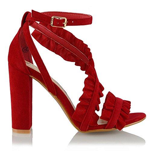 Signore Le Elegante Scarpe Increspatura Caviglia Sandalo Donna Rosso Finto Scamosciato l'Alto alla Sintetico Tacco GLAM ESSEX Formale Cinturino Sera qBFAHBw