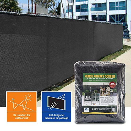 FenceScreen 6-ft x 50-ft Jet Black Fence Screen Privacy Screen - 3 Year Warranty 155 GSM